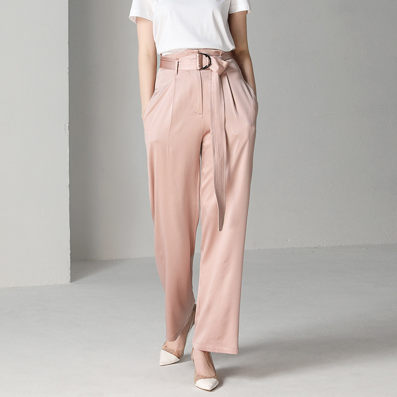 Women's Spring and Summer Trousers Loose Laced Waist Soft Color Wild Wide Leg Pants Women's Trousers Wide Leg Pants 0900 Price $61.88
