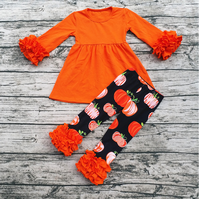 Aicton Fall Winter Kids Clothing Sets Baby Halloween Pumpkin Clothes Set Halloween Boutique Outfits For Girls 2016 new arrival baby girls outfits halloween baby kids boutique baby girl halloween sets with necklace and headband leg warmers