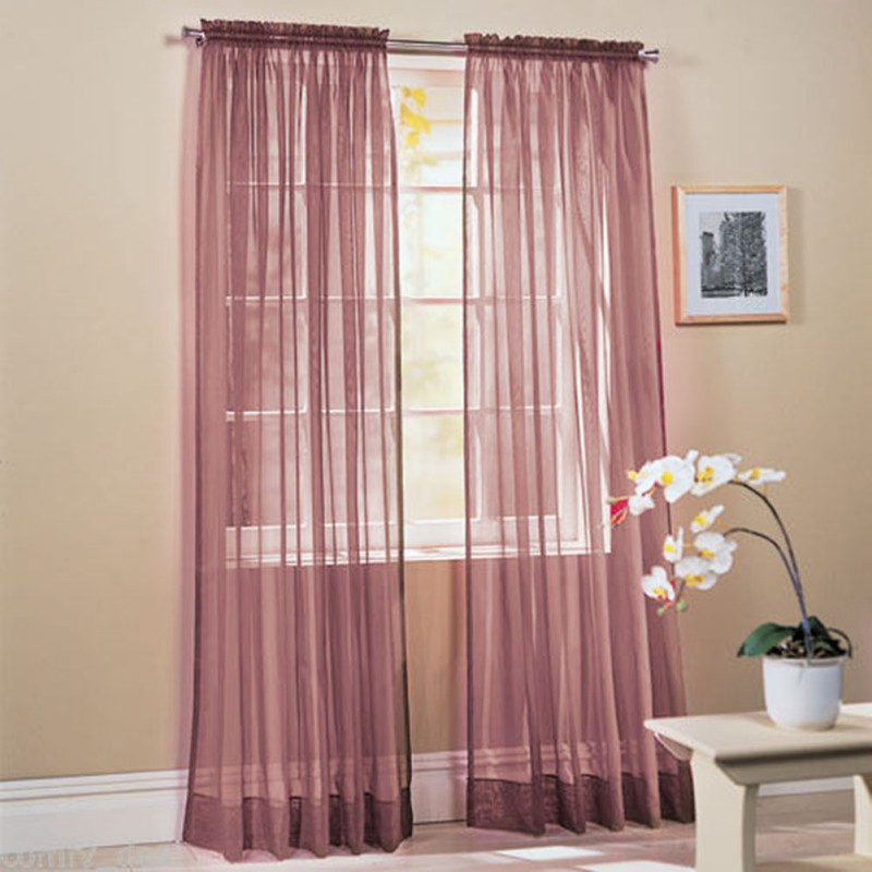 2019 1PC Tulle Curtains Modern Home Window Decoration White Sheer Voile Curtains for Living Room 95X200cm in Curtains from Home Garden