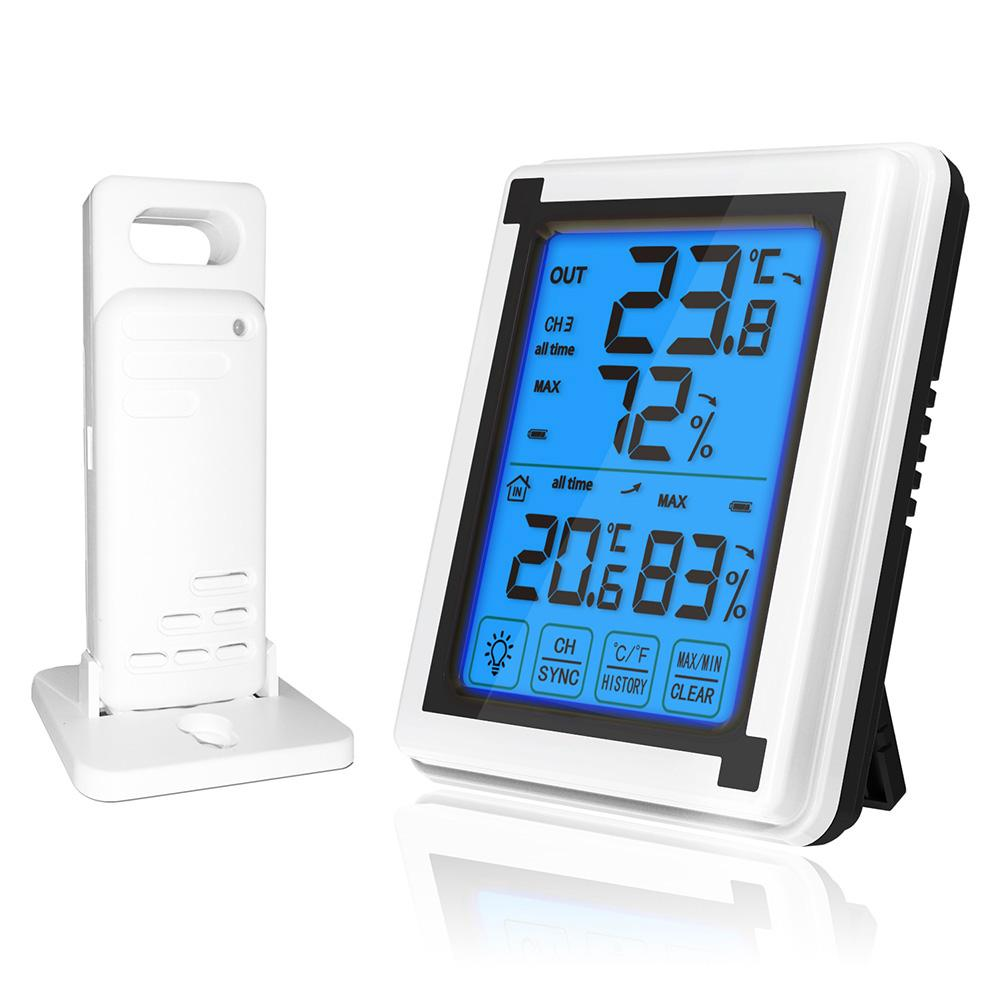 LCD Touch Digital Thermometer Vertical Wireless Color Weather Station With Indoor Outdoor Temperature Alerts Intelligent