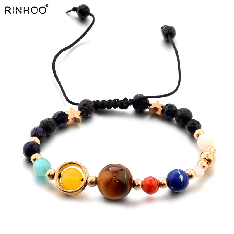 Fashion Universe Galaxy The Eight Planets Solar System Guardian Star Natural Stone Beads Bracelet Bangle For Women Men Gift Bracelets & Bangles
