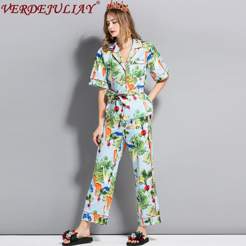 Prairie Summer 2019 Vegetables Print Suits Turn down Collar Single Breasted Top Waist Elastic Pant Women
