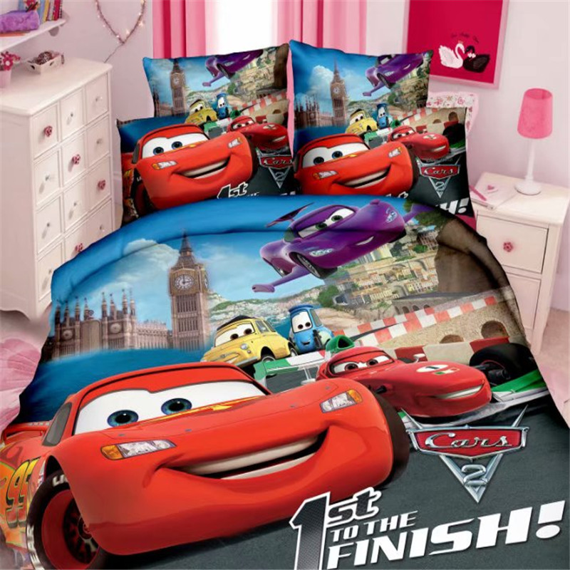 Disney 97 Car Boys Bedding Set Duvet Cover Bed Sheet Pillow Cases Single Size Blue