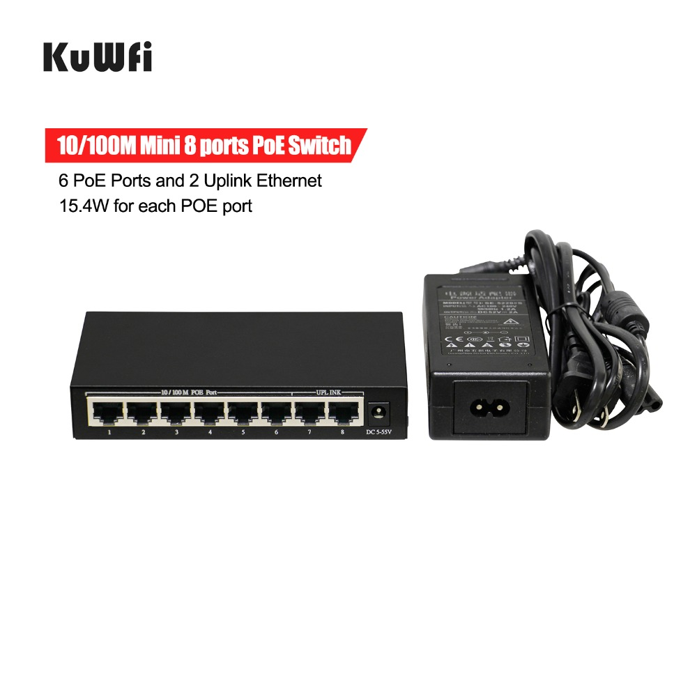 Image 4 - 6+2 Ports Ethernet Switch POE With 6 PoE Ports and 2 Uplink Ethernet IEEE 802.3af Support MDI/MDIX 15.4Watts Per Port-in Network Switches from Computer & Office
