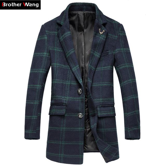 Casaco de inverno dos homens novos de moda treliça no longo seção de Lazer Homens jaqueta de tecido De Lã Grande tamanho blusão 4XL 5XL