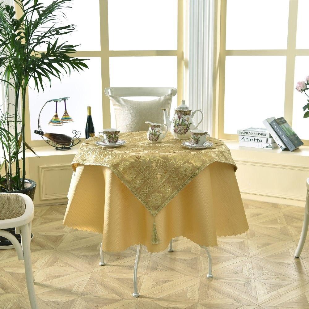 latest 2 pcsset round 140cm luxurious enbroidery sequin golden bar table linens lace tablecloth