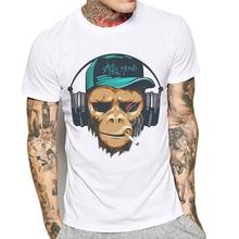 купить Hot sale Brand Men T Shirt Short Sleeve Funny Monkey Print Male T-Shirt O-Neck Fashion Tee Shirts Mens Cotton Tee Poleras Hombre дешево