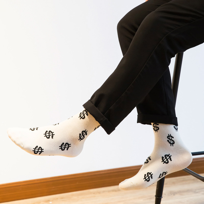 1pair Fashion Spring Autumn Men Long Socks Dollar Symbol Printed Comfortable Breathable Men Dress Cotton Socks Calcetines Meias