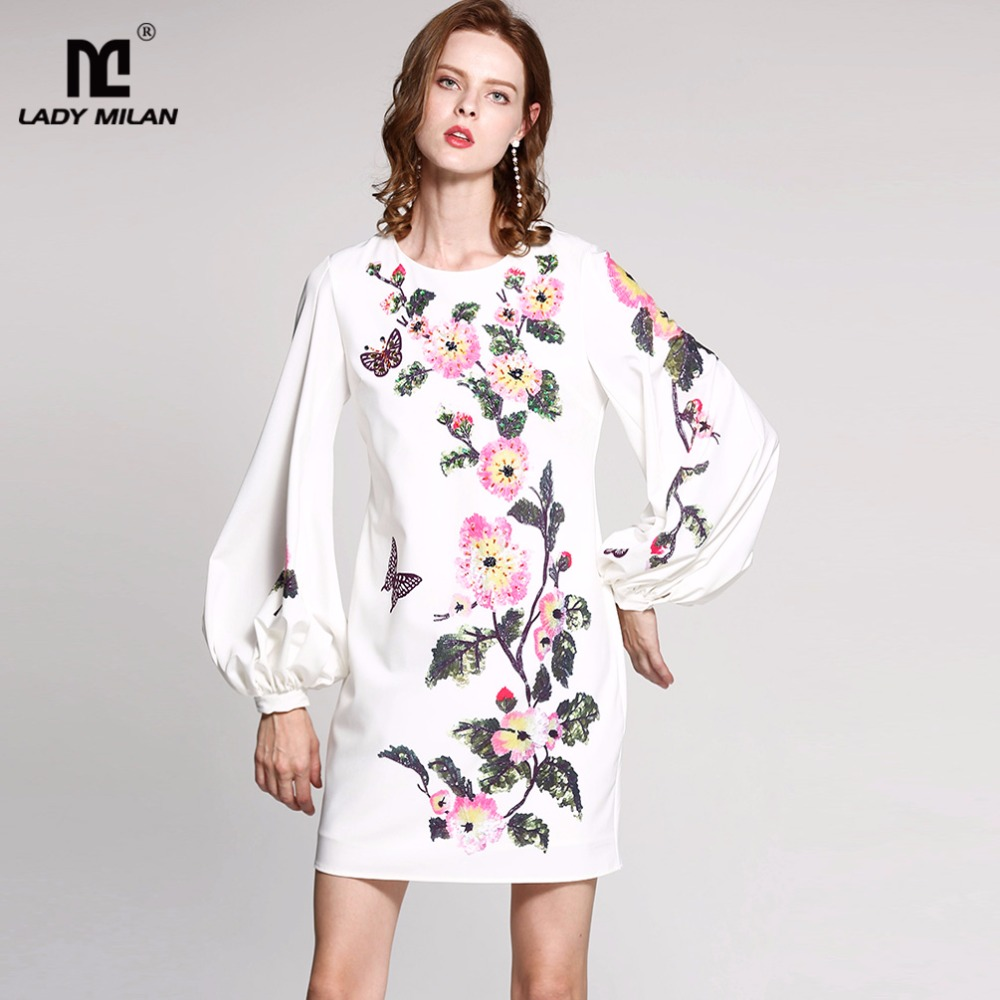 New Arrival Womens O Neck Long Lantern Sleeves Sequined Floral Fashion Designer Casual Short Dresses
