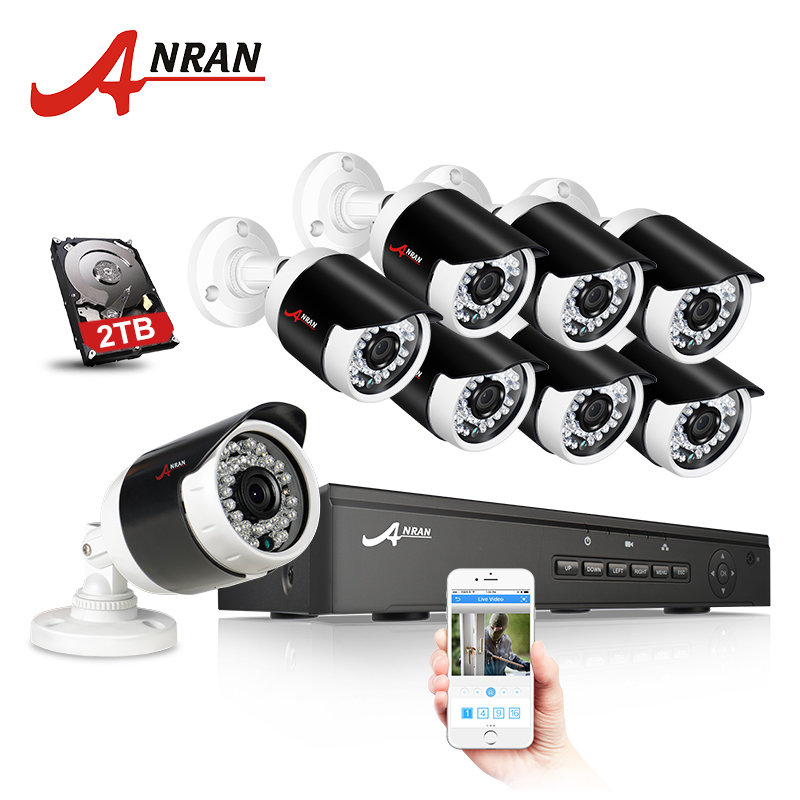 ANRAN POE CCTV Camera System 2MP HD 8CH NVR Security Cam Night Vision IP Camera Outdoor Waterproof IR Surveillance System Kit free shipping 700tvl 8ch hd ir cctv security camera system security outdoor waterproof camera security surveillance system kit