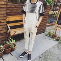 Men Ripped White Denim Overalls New 2016 Distressed Ankle Length Male Bib Jeans Overall Capris Free