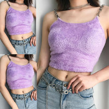 Fur Metal Chain Strappy Tank Tops Summer Womens Sexy Basic Solid Sleeveless Crop Top Casual Purple Plush Stretch Plain