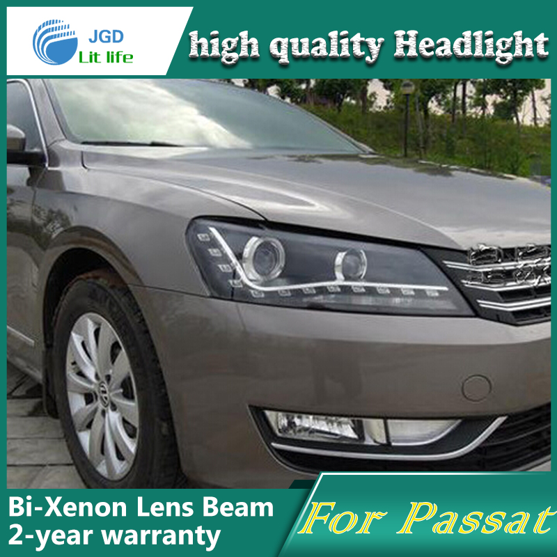Free shipping Car Styling for VW Passat 2011-2014 Headlights LED Headlight DRL Lens Double Beam HID Xenon Car Accessories hireno car styling for toyo ta corolla 2011 13 headlights led super bright headlight drl xenon lens high fog lam