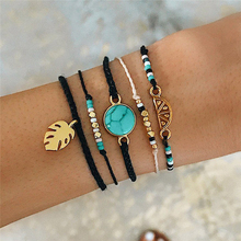 Summer fashion bohemian bracelet retro blue marble geometric pattern temperament female charm gift simple adjustable