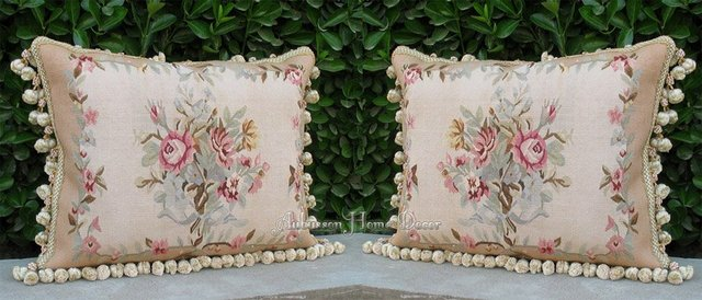 "A MATCHING PAIR! FREE SHIP! Hand Woven Wool Aubusson Pillow Cover - BED BENCH COUCH Cushion Flowe Cover18""x14"" Home Decorative"