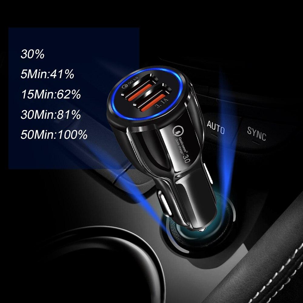 Image 5 - Новейшая уникальная форма 3,0 2,0 Быстрая зарядка USB Автомобильное зарядное устройство для мобильного телефона 2 порта 50 мин до 100% батарея для Univeral с коробкой