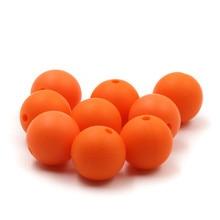 JOJOCHEW 100 հատ 9 մմ 19 մմ նարնջագույն տաք նոր սիլիկոնե մանկական ատամնափայտ բշտիկներով BPA Անվճար Round Cuentas de silicona Ոսկերչական իրերի պատրաստում