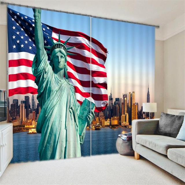 Statue Of Liberty American Flag Room Darkening Drapes 3D Scenery Race Car Print Window Decor Curtains