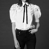 White Womens Cotton Shirts Runway Hollow Out Blouses Tops