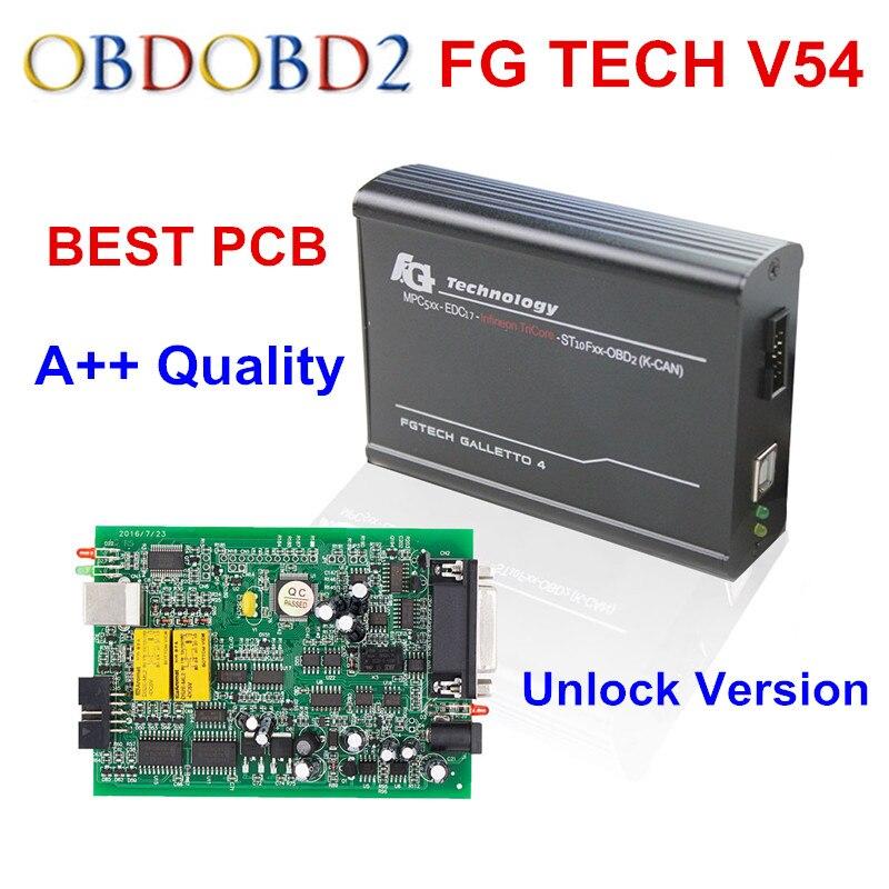 Prix pour Meilleur Plein PCB V54 FGTech Galletto 4 Maître Soutien BDM Fonction Complète Fg Tech V54 Auto ECU Chip Tuning BDM OBD FG-TECH Bateau Libre