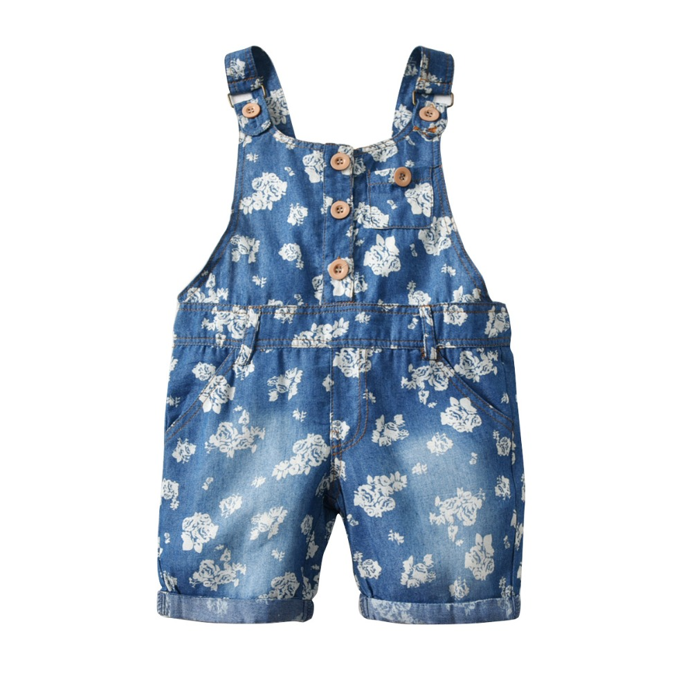 girls overalls 2019 summer girls fashoin new flower print denim overalls children pants kids clothes 2-8Y