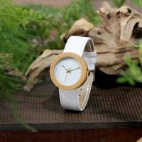 Reloj de madera y cuero pulso blanco 1