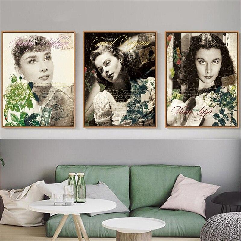 Marilyn Monroe Audrey Hepburn Ingrid Bergman Poster