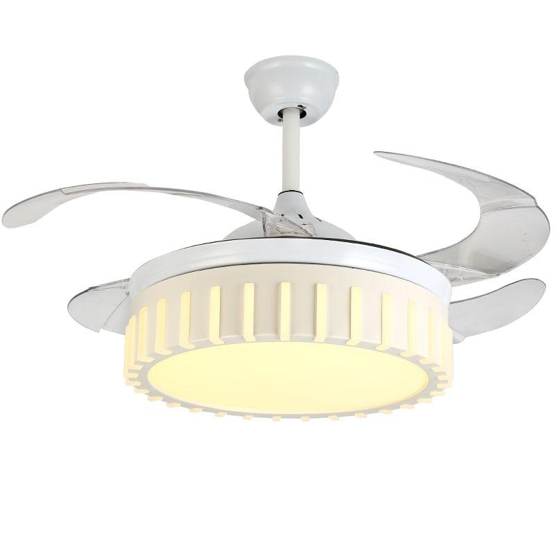 2018 Yeni Yüksek Kalite Modern Görünmez Fan ışıkları Akrilik Yaprak Led tavan vantilatörleri 110 v/220 v Kablosuz kontrol ışıklı tavan fanı