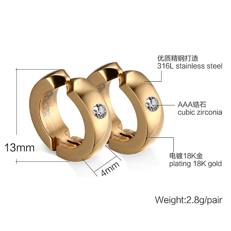 Punk Hiphop Clip Earrings For Boy Girl Stainless Steel With CZ ...