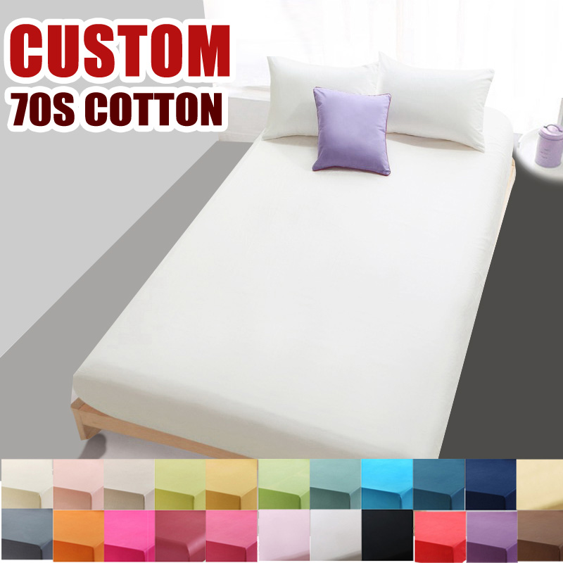 Custom 70S Cotton Solid Bed Sheet For Double Single Fitted Sheet Bedding  Linens Sheets,High Density Bed Sheet White Black#9115 In Sheet From Home U0026  Garden ...