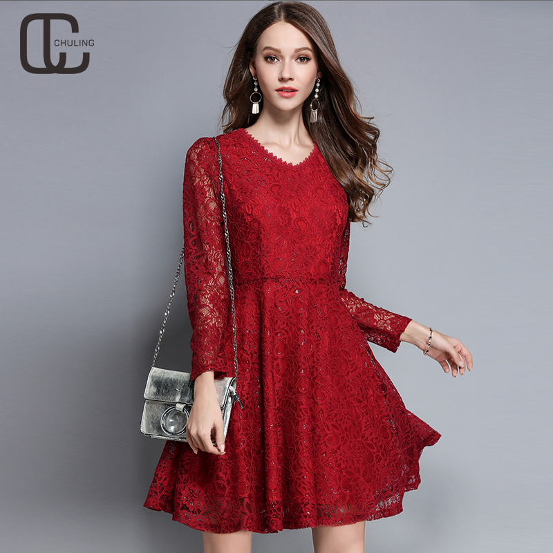 new autumn women's lace elegant dresses casual tunic red