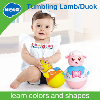 HUILE TOYS 967 Baby Toys Roly-Poly Tumbler Toy with Music & Flashing Lights Nodding Doll Duck Sheep Novelty Educational Toys