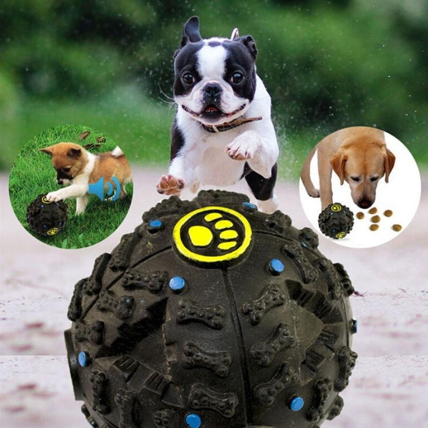 Pet Dog Cat Play Squeaky Squeaker Quack Sound Chew Treat Holder Ball Toy 0324