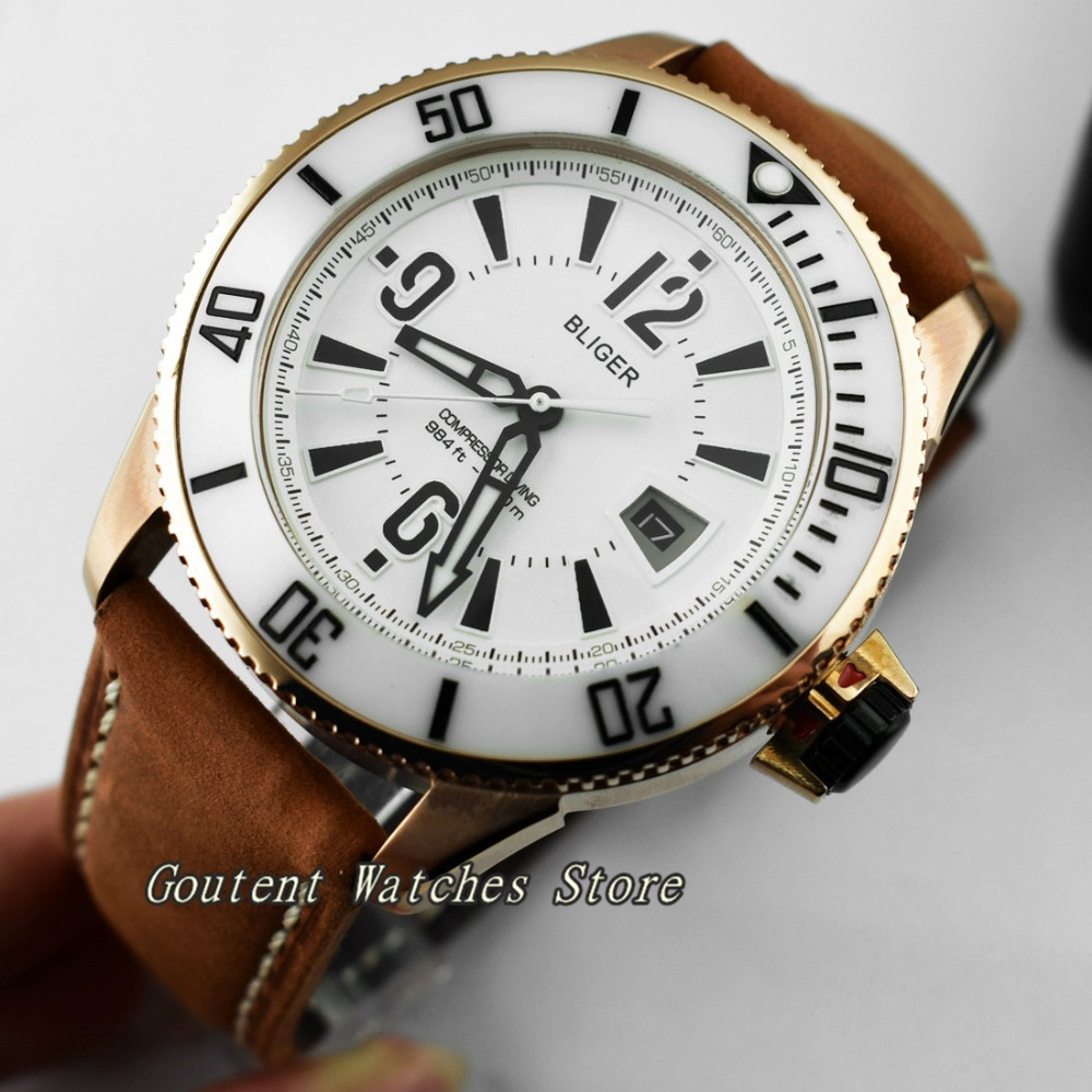 43mm Bliger Rose Gold Case White Dial Leather Automatic Movement Men s Watch