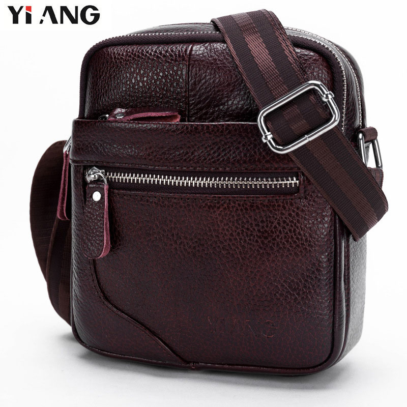 YIANG Brand 2018 New Men Casual Genuine Leather Bag Travel Messenger Bag Cross body Single Shoulder Bags Cell Mobile Phones Bags deelfel new brand shoulder bags for men messenger bags male cross body bag casual men commercial briefcase bag designer handbags
