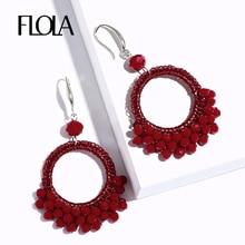 FLOLA New Ethnic Pandant Earrings with Crystal Beads Women Red Bohemian Dangle Drop Earring Retro Jewelry vrouw oorbellen ersm66