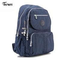 TEGAOTE Classic Big School Backpack For Teenage Girls Mochila Feminine Backpacks Women Solid Famous Nylon Casual