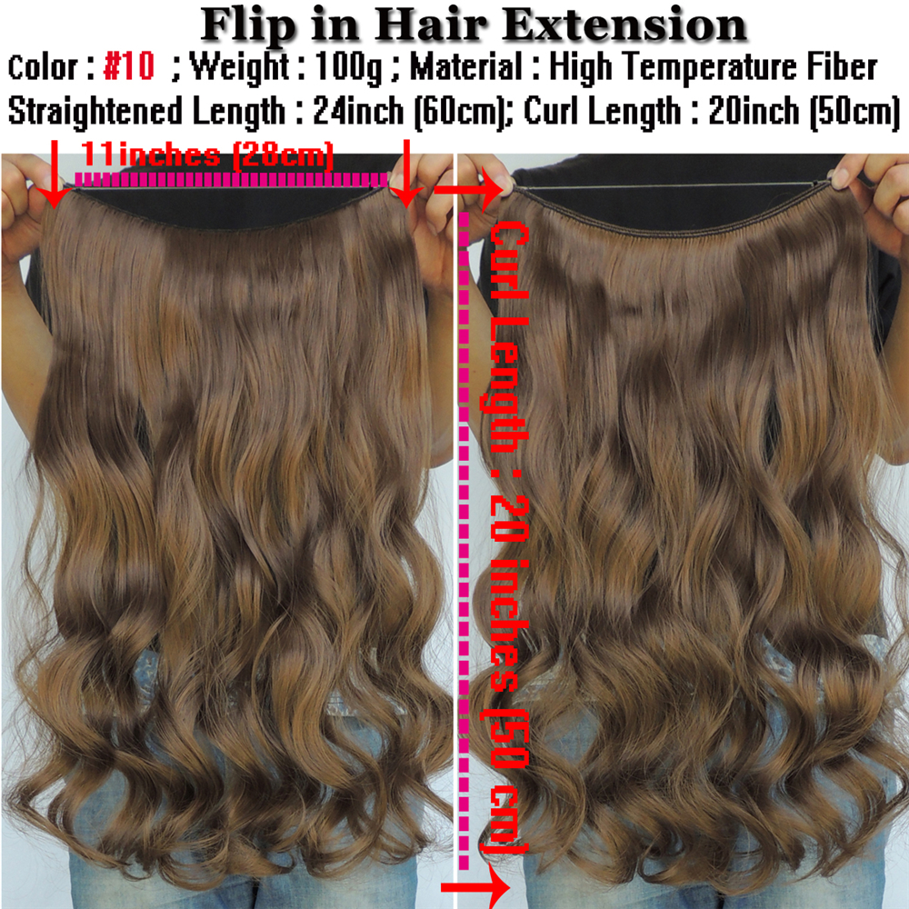 20 Inch Ginger Brown Halo Hair Extension Curly Wavy Synthetic