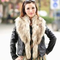Autumn winter scarf women's fake raccoon fur collar scarf long faux fox fur muffler stole warm neck female for lady coat collar