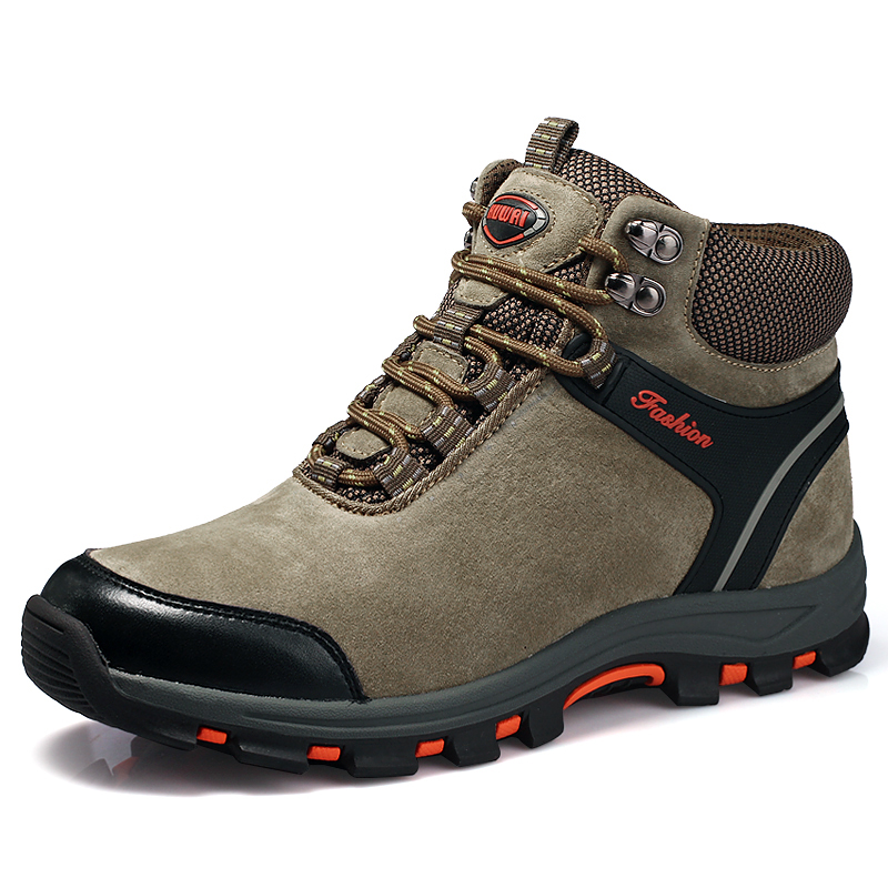 2017 Autumn Winter Mens Hiking Boots Fur Warm Outdoor Men Mountain Boots Male Trekking Shoes Leather Mountain Walking Trainers 2017 autumn winter mens hiking trainers rubber outdoor men shoes lace up outdoor man sneakers wearable high mountain boots