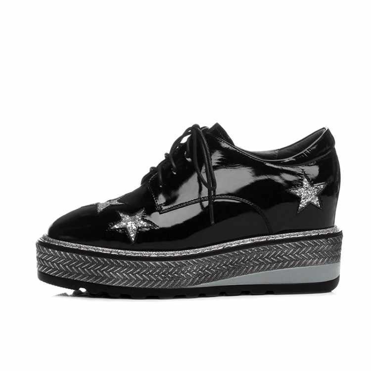 MLJUESE/2018; женская обувь на плоской подошве из коровьей кожи; обувь с перфорацией типа «броги» на шнуровке; лоферы на плоской платформе; повседневная обувь; обувь на толстой мягкой подошве; спортивные кроссовки