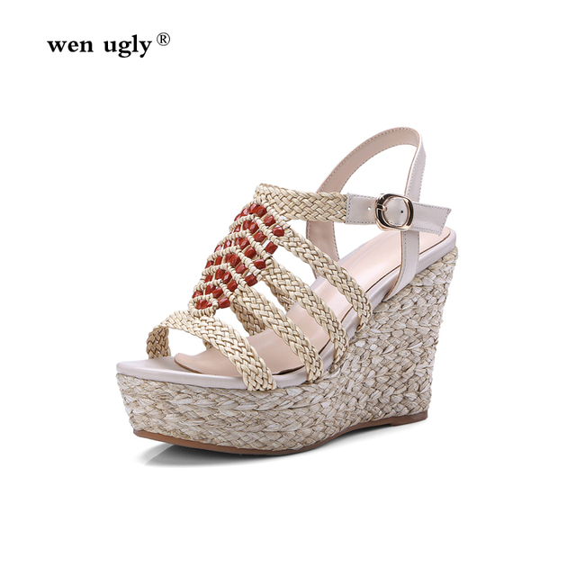 9f38805d4c1 wen ugly Waterproof platform national style slope heel shoes leather high-heeled  sandals straw beaded high heels 2018 summer new