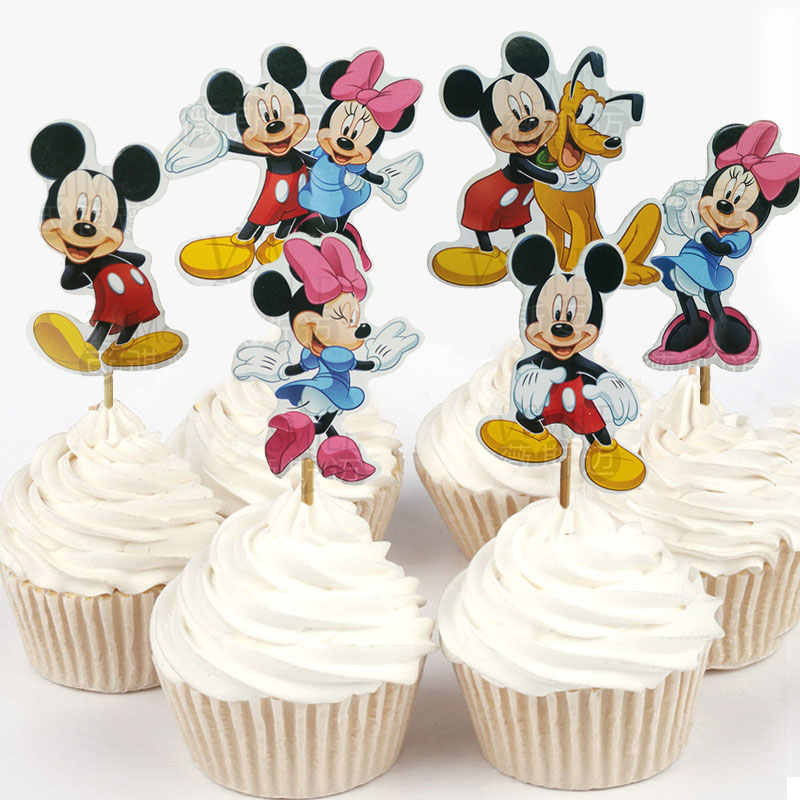 Swell New Arrival 24Pcs 48Ps Lovely Mickey Minnie Mouse Cupcake Topper Funny Birthday Cards Online Alyptdamsfinfo
