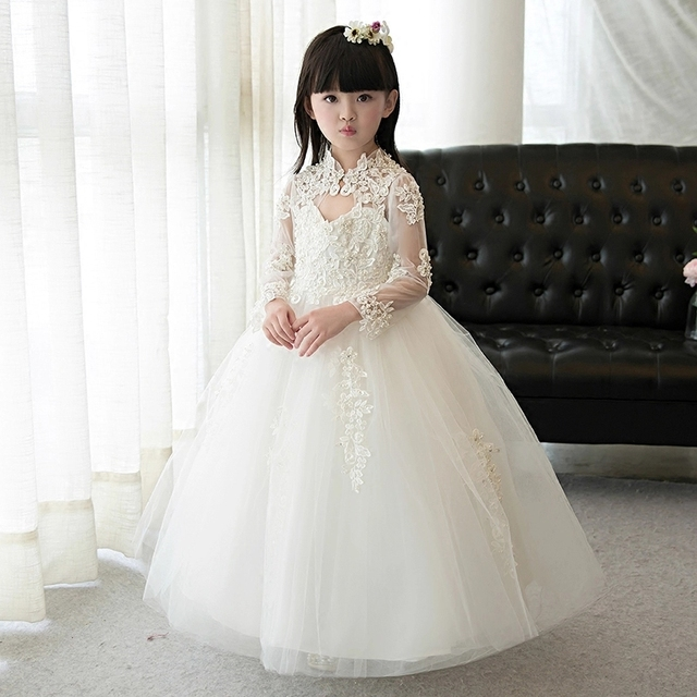 2017 Flower Girls Dresses For Wedding White Lace Girl Formal Birthday Party Dress Princess Gown Kids