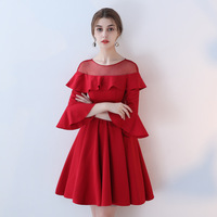 Women Dress 2018 Retro Luxury Sweet Cute Red Bridesmaid Vintage Lace Runway Party Autumn Winter Ladies