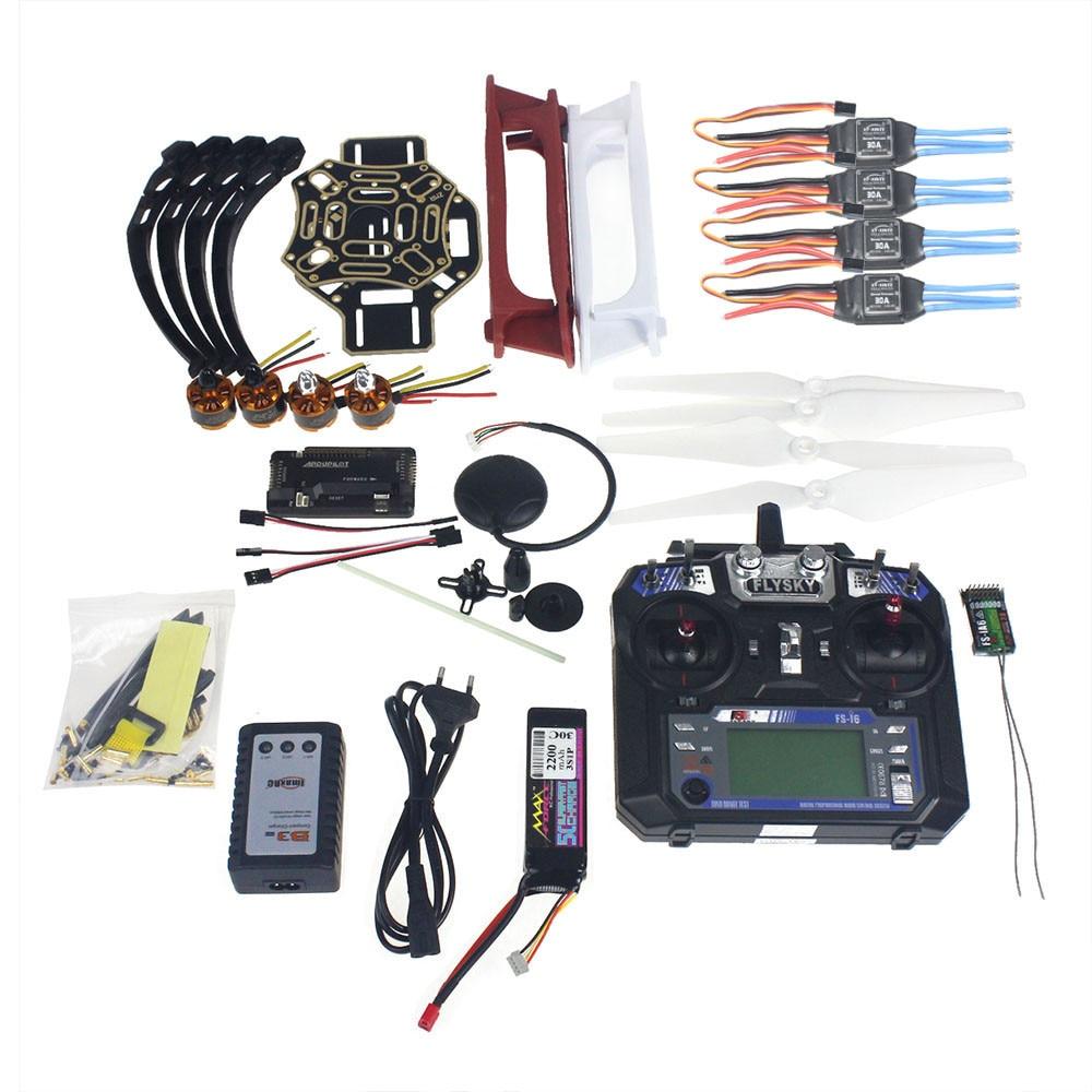 Ensemble complet RC Quadrocopter 4-axe Avions Kit F450-V2 Cadre GPS APM2.8 Vol Contrôle Flysky FS-i6 Émetteur F02192-Y