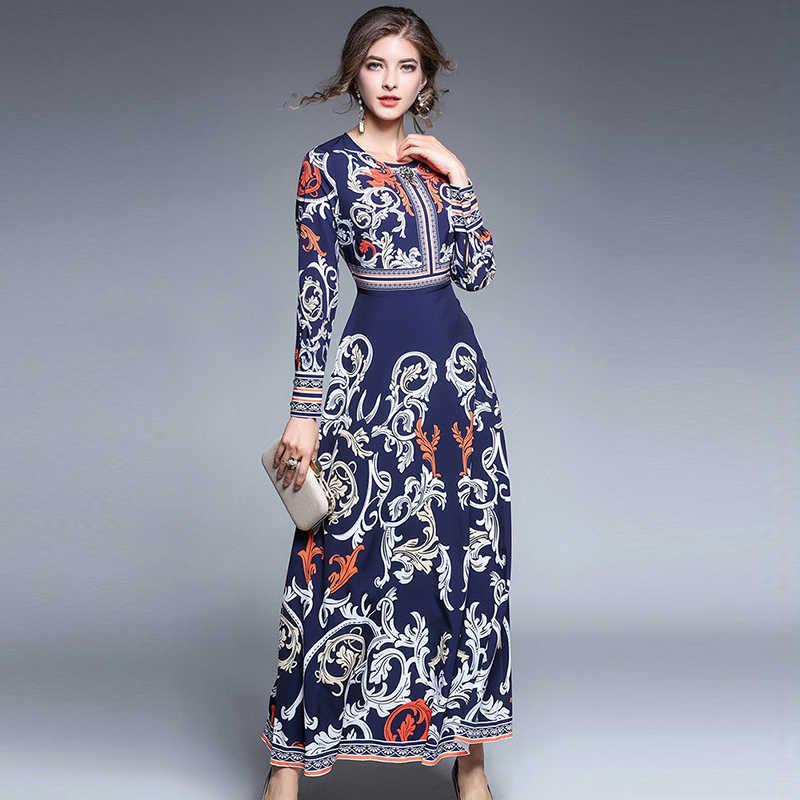 2020 סתיו חדש אישה בציר אלגנטי יהלומי הדפסת שמלת O-צוואר ארמון ארוך שרוולים שמלת גברת אופנה מסיבת ארוך שמלות