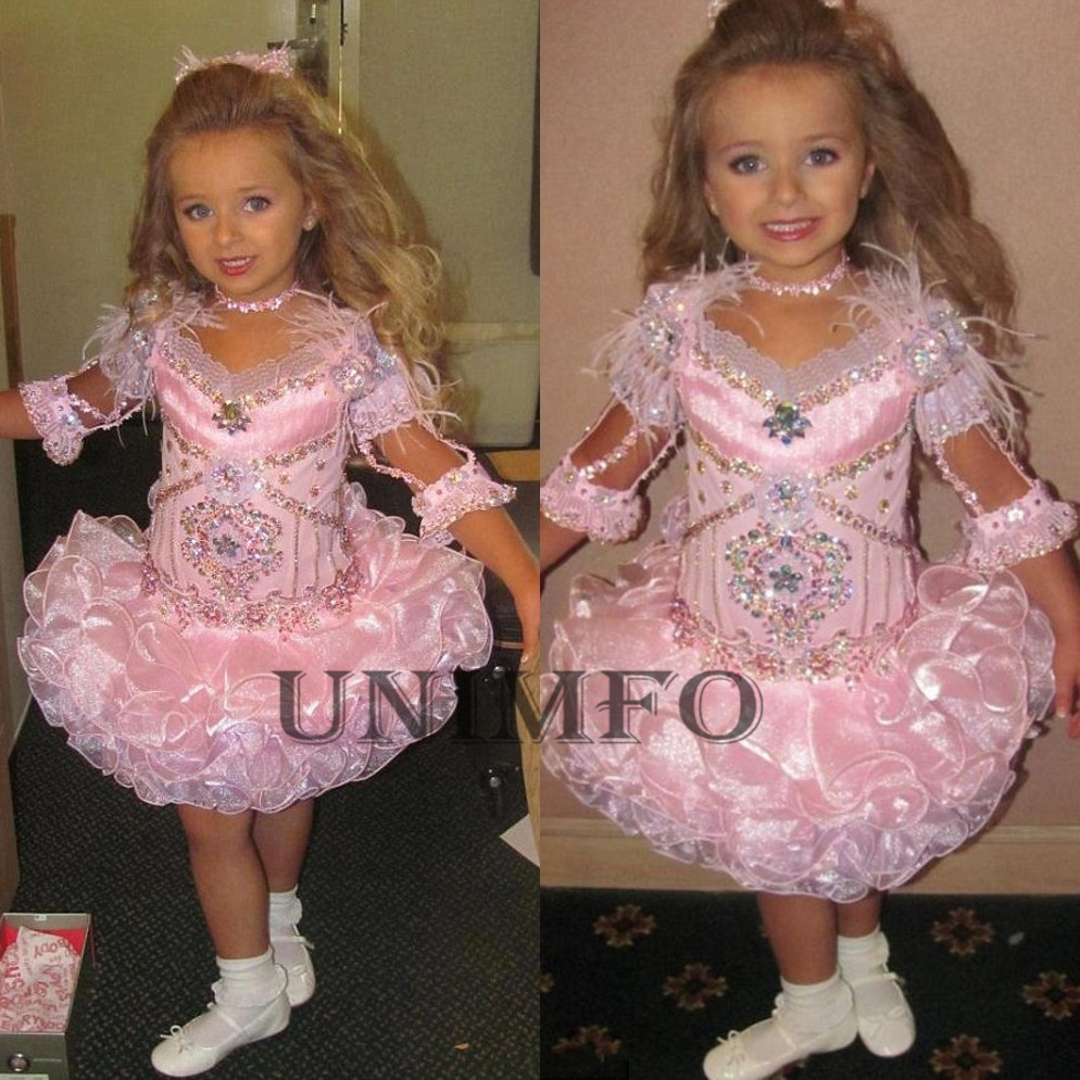 Lovely Princess Flower Girl Dresses Puffy Tutu Crystals 2018 Toddler Little Girls Pageant Dress Birthday Party Wear 2019