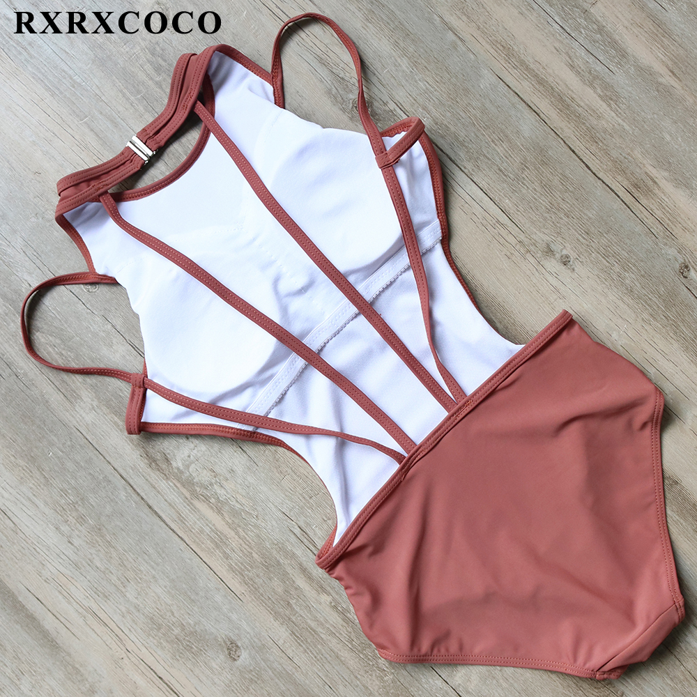 RXRXCOCO One Pieces Swimsuit 2017 Sexy Swimwear Women Halter Bandage Bathing Suit High Neck Swimming Wear Padded Monokini