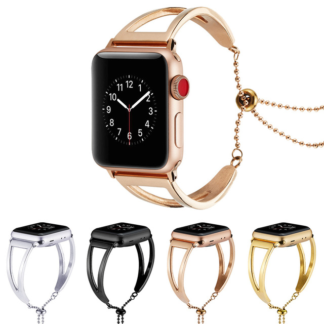 c3a167d49 New Fashion Stainless Steel Women Girls Bracelet Strap for Apple Watch Band  Series 1/2/3/4 WristBand 38/42/40/44mm Link Belt